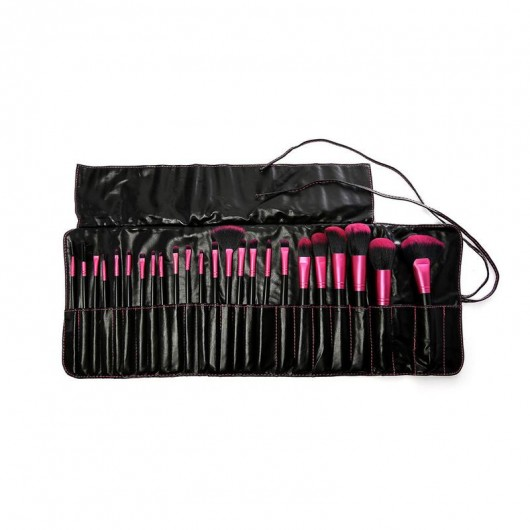 Beauty Creations 24 Pc Black / Pink LITTLE LADY Brush Set